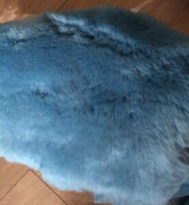 Sheepskin offcuts scraps crafting wool, natural Offcuts Teal Blue Merino Wool