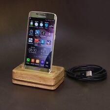 DESIGN Station de chargement Bois chêne Chargeur table Samsung Galaxy S6 NEUF