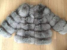 NEU! Blue frost Silberfuchs Fuchs Pelzjacke horizontal silver fox fur coat 34 XS
