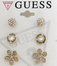 Nuevo Guess 3 Pc Set Color Dorado+Círculo Cristal+