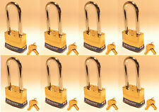 Lock Set by Master Brass 6KALJ (Lot of 8) Keyed Alike Laminated Long Shackle
