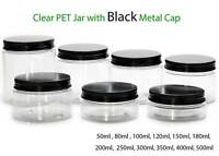 Empty PET Plastic Jars Aluminum Black Lids Clear Pots Cream Cosmetic 50ml-500ml