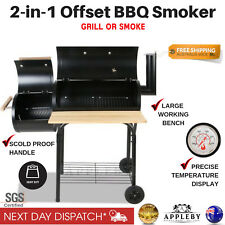 New Offset Charcoal BBQ Smoker Meat Grill Box Wood Fired Smoked Oven Food Steel