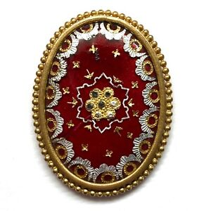 Antique Button ~ Gorgeous Large Gilded Enamel w Intricate Foil Work