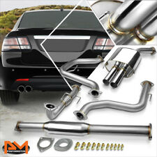 """For 03-11 Saab 9-3 2.0 Dual 2.5"""" Tip Muffler Stainless Catback Exhaust System"""
