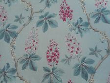 Sanderson Curtain Fabric 'Chestnut Tree' 3.9 METRES Seaspray/Peony - Linen Mix