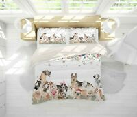 3D Cartoon Dogs Floral Quilt Cover Set Bedding Duvet Cover Single/Queen/King91
