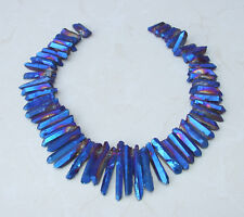 Indigo Blue Titanium Quartz Crystal Points Strand Raw Pendant Beads  20-45mm