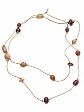 NEW BOHO FESTIVAL STYLE,KNOTTED LEATHER CORD & WOOD BEADS LONG NECKLACE ZX50/197
