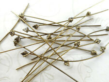 20 Decorative Dots Antique Brass Plated 2 inch Headpins 65680