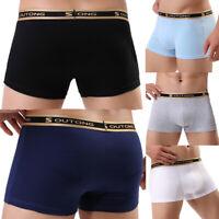 Men's Cotton Underwear Knickers Boxer Flat Briefs Shorts Bulge Pouch Underpants