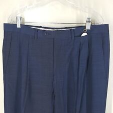 "PAL ZILERI BLUE CHECK PANTS DRESS PLEAT MADE IN ITALY 100% WOOL 36"" X 26"" SHORT"