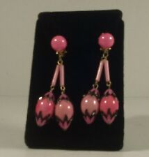 Vintage Pink Lucite Clip On Earrings Mid Century 1950's 1960's Mad Men High End