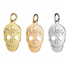 5pcs Skull Pendant Charms Hooks Stainless Steel DIY Necklace Findings Halloween