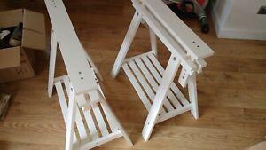 Pair of Ikea Finnvard / Mittback trestle white table or desk legs