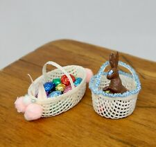2 Vintage Easter Basket Eggs & Chocolate Bunny Artisan Dollhouse Miniature 1:12