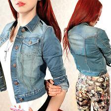 Vintage Womens Long Sleeve Coat Slim Denim Short Casual Jean Jacket Outerwear