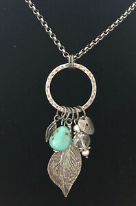 """BEAUTIFUL Silpada Sterling Silver Turquoise Feather Multi-Charm Necklace 19"""""""