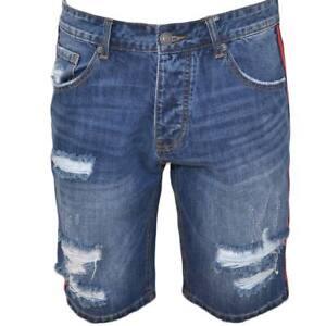 Pantoloni corti short uomo bermuda in denim jeans blu con strappi frontali e bor