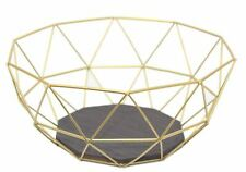 Gold Effect Geometric Metal Wire Kitchen Display Fruit Bowl Storage Basket