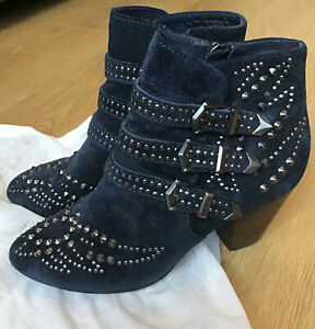 Ash Ladies Blue Suede Studded Cowboy Style Boots Size UK 3