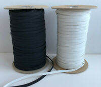 "1/4"" Inch Elastic 5 or 10 Yards Lot White or Black Choose .25 inch Sewing Trim"