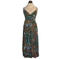 Mlle Gabrielle Womens Dress Maxi Size Medium Spaghetti Paisley Swirl Spring
