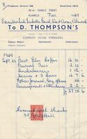 D. Thompson's Alnwick 1949 Complete House Furnishers Stamp Receipt Ref 38174
