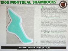 Willabee Ward ~ Nhl Throwback Hockey Patch & Info Card ~ 1900 Montreal Shamrocks