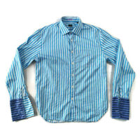 "Paul Smith XL 42"" Blue Striped Long Sleeve Double Cuff Shirt Smart Mens Xmas"