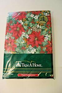 Trim a Tree Vinyl Back tablecloth 52x90 Oblong Poinsettias Christmas Holiday New