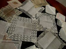 lot of 17 Vintage cutter/craft wedding lace, crochet lace, hankies