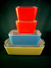 Vintage Pyrex Primary Colors 8pc Refrigerator Dishes w/Lids  VERY NICE!