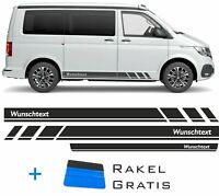 Seitenstreifen VW T6.1, T6, T5, Multivan, Bulli, Wunschtext, Seitenaufkleber