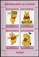 Chad 2019 MNH Winnie the Pooh Bear 4v M/S Disney Cartoons Animation Stamps