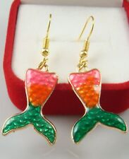 Painted Cocktail Lady Earring x3kf 18K gilded Hook -2.5''fish tail Oil