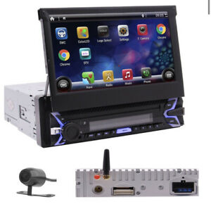 """7""""  Flip-Out Single 1Din Car Stereo Android 10 Car Radio BT GPS WiFi Mirror 32GB"""