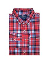 Vineyard Vines Men's Slim Fit Flannel Shirt Funback Plaid in Nautical Red
