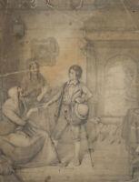 Junger Mann bei einer alten Wahrsagerin, 1840, Bleistiftzeichnung