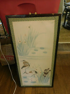 Big CHINESE Watercolor Silk Panel FLORAL Birds flowers pond Painting wood frame