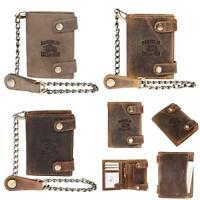 Herren Geldbörse Biker Brieftasche mit Kette Portemonnaie mit RFID Blocker Leder