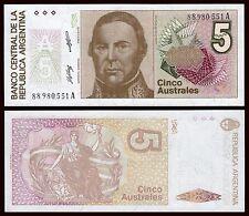 Argentina - 5 Australes 1985-1989  Pick 324b  SC = UNC