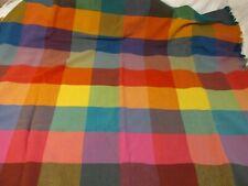 "Vintage Horner Wool Multicolor Fringe Plaid Lap Blanket Throw 46"" x 58"""