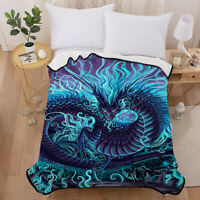 Dragon Blanket Cozy Soft Warm Micro Plush Fleece Throw Rug Sofa Blanket US