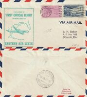 US 1957 EASTERN AIR FIRST FLIGHT FLOWN AIR MAIL COVER NEW ORLEANS TO MEXICO CITY