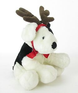 "Russ SPROCKETS Plush Black & White 11"" DOG Stuffed Christmas Antler Reindeer"