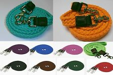 7' Soft Cotton Braided Roping Barrel Reins 2 Snaps Teal Orange Red Blue Green