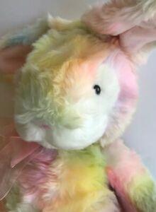 "Rare RUSS Plush  18"""" Fluffy Tie Dye Pastels Rainbow Bunny Rabbit Poseable Ears"
