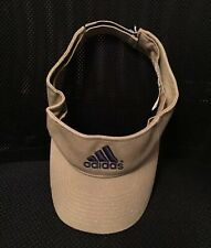 Vintage ADIDAS LOGO KHAKI TAN VISOR HAT Adjustable Back Strap UNISEX 100% Cotton