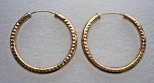 Pretty engraved 9ct Gold hoop earrings  pierced 1.4 grams